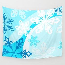 Blue Flower Art Winter Holiday Wall Tapestry
