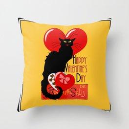 Le Chat Noir Valentine Throw Pillow