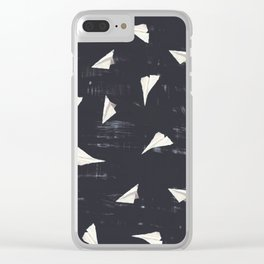 Paper Planes-Navy Clear iPhone Case