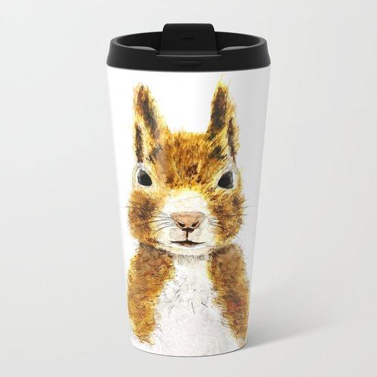 cute little squirrel watercolor Metal Travel Mug
