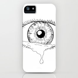 Human Eye Crying Tears Flowing Drawing iPhone Case