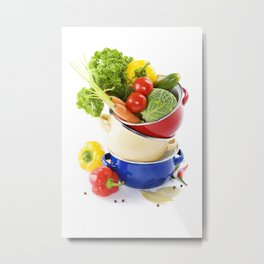 Ratatouille or soup vegetables in a cooking pot over white Metal Print