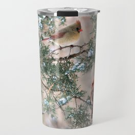 Winter Pair Cardinals (sq) Travel Mug