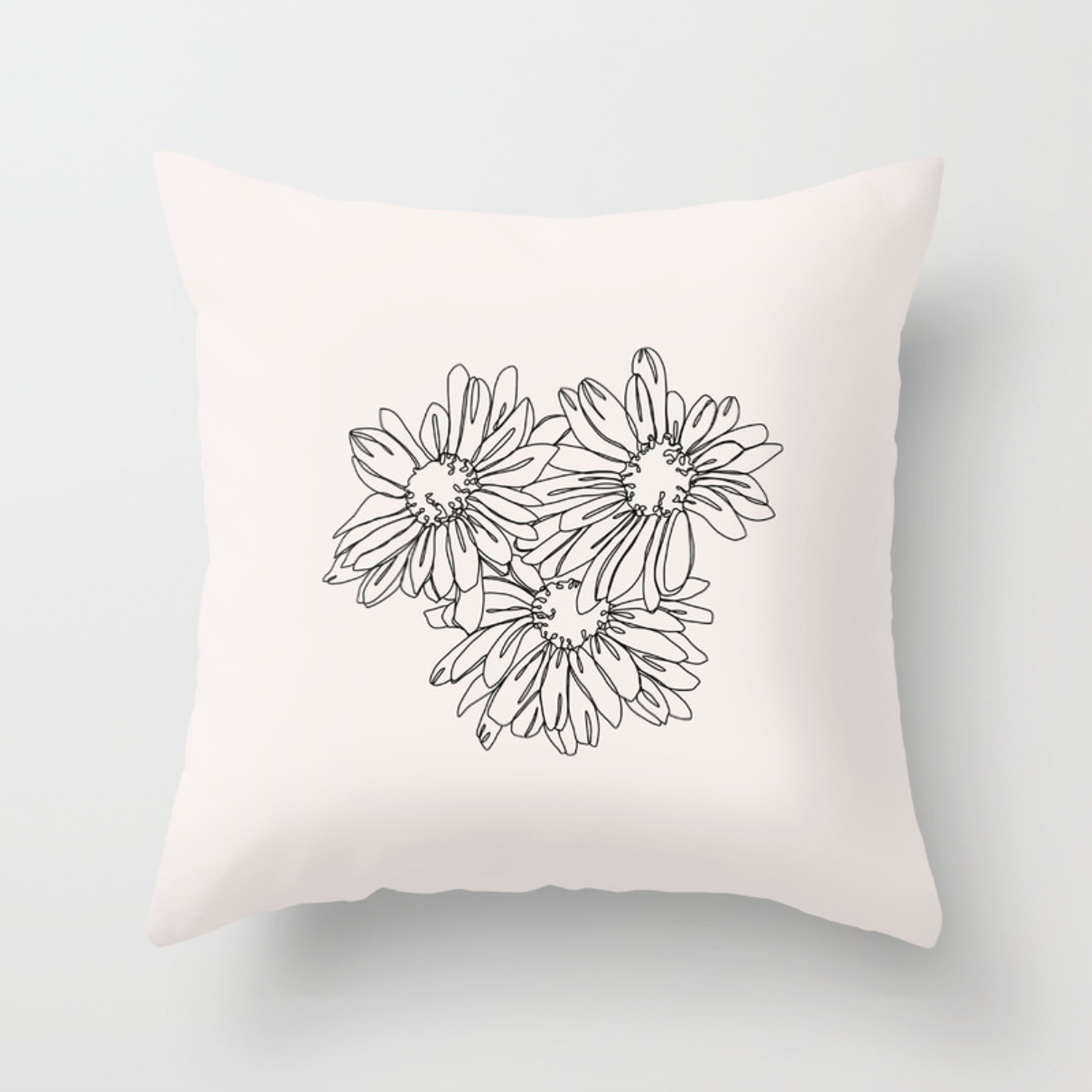 Daisy Flowers Line Drawing Nina I Throw Pillow By Thecolourstudy Society6