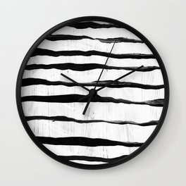 Black Ripples on White Texture Wall Clock