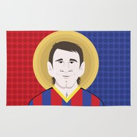 messi Area & Throw Rugs featuring Messi Barcelona by Damian Allende