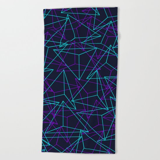 Abstract Geometric 3D Triangle Pattern in  turquoise/ purple  Beach Towel