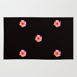 Pink Pansies on Black by Aloha Kea Photography Rug