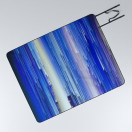 Frozen blue waterfall abstract digital painting Picnic Blanket
