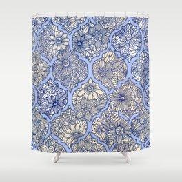 Moroccan Floral Lattice Arrangement - Purple Shower Curtain