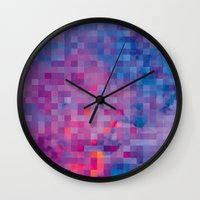 pixel Wall Clocks featuring Pixel by Marta Olga Klara