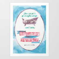 sylvia plath Art Prints featuring A HOT BATH//SYLVIA PLATH QUOTE by Connie Cann