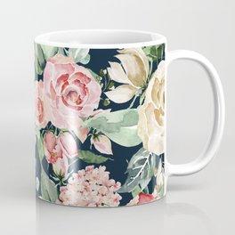 Pink Creme Rose Watercolor Floral Pattern Coffee Mug