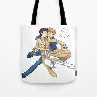 destiel Tote Bags featuring Supernatural - Destiel by hudashick