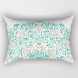 SO SHELLULAR Mint + Rose Gold Shell Mandala Rectangular Pillow