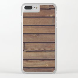 Dark Wood Planks Wall Clear iPhone Case