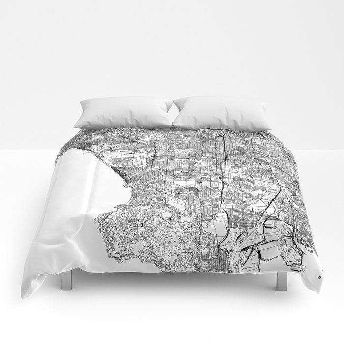 Los Angeles White Map Comforters