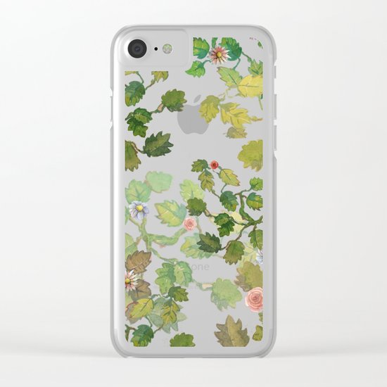 water color garden with flowers! ( Clear iPhone Case