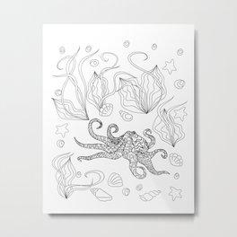 zen octopus under water Metal Print