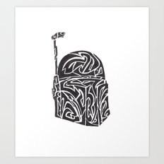 Boba Fett [Black on White] Art Print