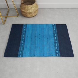 Indigo Ocean Calm Blue Oriental Traditional Moroccan Artwork. Rug