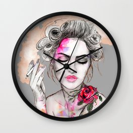 Tender girl, flowers and smoke. #picture Wall Clock