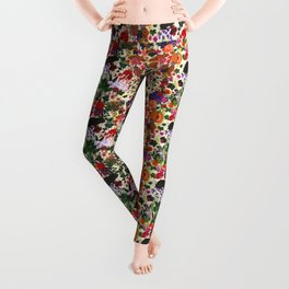 Vintage Butterfly Rabbit Garden Floral Watercolor Leggings