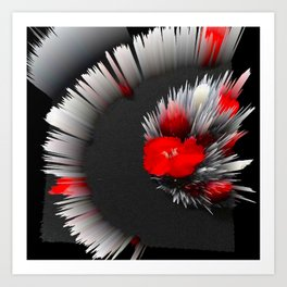 red flower abstract 3d digital painting Art Print