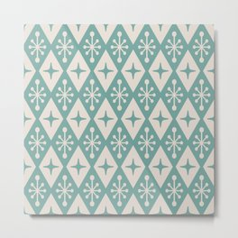 Mid Century Modern Atomic Triangle Pattern 711 Green and Beige Metal Print