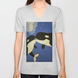 Mother and Child Whales Unisex V-Neck