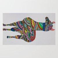 llama Area & Throw Rugs featuring Llama Loud, Llama Proud by Caballos of Colour
