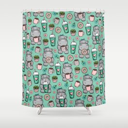 Hippopotamus, Hippo Print, Cute Little Hippo, Donuts and Coffee, For Girls Shower Curtain