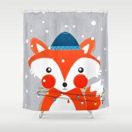 Christmas Fox with fairy lights Shower Curtain