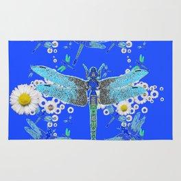 BLUE DRAGONFLIES WHITE DAISY FLOWERS  ART Rug