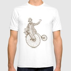 Flatland Penny Farthing MEDIUM White Mens Fitted Tee