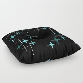 Mid Century Modern Stars Black Teal Floor Pillow