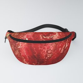 Bright Red Acrylic Pour Painting Fanny Pack