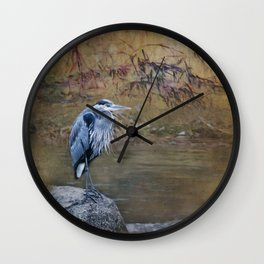 Great Blue Heron on a Rock Wall Clock