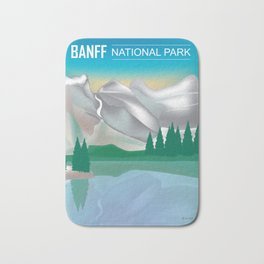 Banff National Park, Alberta, Canada - Skyline Illustration by Loose Petals Bath Mat