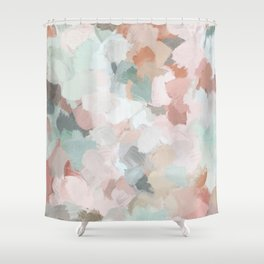 Blush Pink Mint Green Blue Coral Peach Abstract Flower Wall Art Springtime Painting Modern Wall Art Shower Curtain