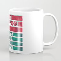 be happy Mugs featuring Happy by Hector Mansilla