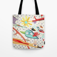 Cat and Birds Illustration 2016 Tote Bag