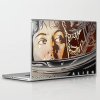 movie poster Laptop & iPad Skins featuring Alien - Movie  Poster by Francesco Dibattista