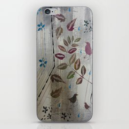 Three Birds, Leaves and Turquoise by Jackie Wills iPhone Skin
