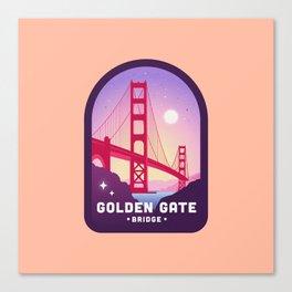 Golden Gate Bridge Badge in Peach Canvas Print