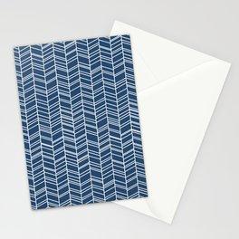 Navy Herringbone Stationery Cards