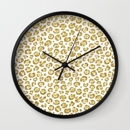 Glamorous Faux Sparkly Gold Leopard Wall Clock