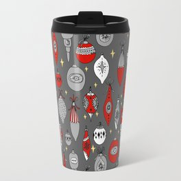 Ornaments christmas vintage classic red and white hand drawn christmas tree ornament pattern Travel Mug
