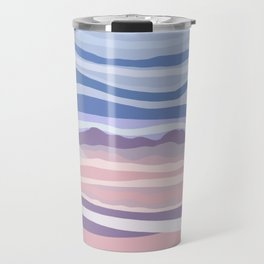 Bohemian Waves // Abstract Baby Blue Pinkish Blush Plum Purple Contemporary Light Mood Landscape  Travel Mug