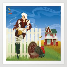 Thanksgiving Day. Beautiful pilgrim girl. Art Print